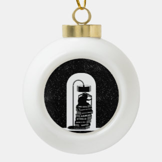 Funny Cat Reading Shakespeare Plays Ceramic Ball Christmas Ornament