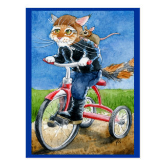Funny Cat Riding Tricycle postcard