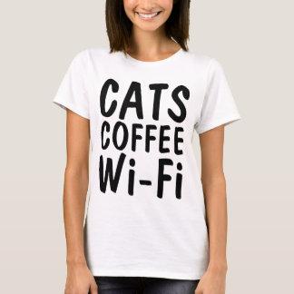 Funny CAT t-shirts, CATS COFFEE WIFI T-Shirt