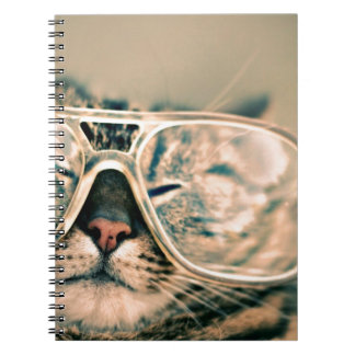 Funny Cat with Glasses Spiral Notebooks
