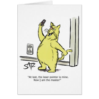 Funny cat with laser pointer greeting card