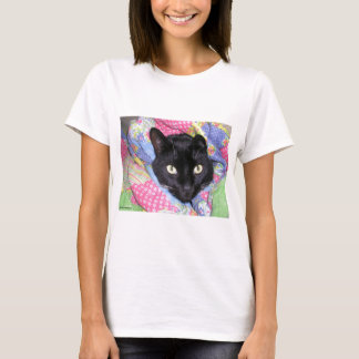 Funny Cat: Wrapped in Blankets - White T-Shirt