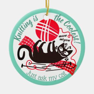 Funny cat yarn knitting crochet Christmas ornament