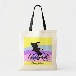 "Funny Catholic Nun Jubilee Gifts ""Nun on a Bike"" Bag"