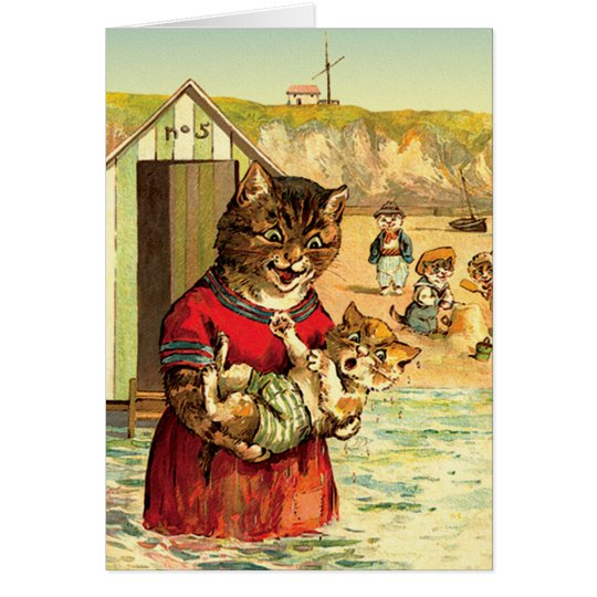 Funny Cats Card/ Invitation: Cats at the Beach Card