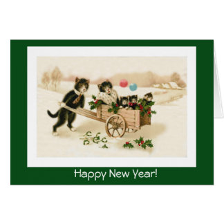 Funny Cats Customisable Vintage New Year's Card