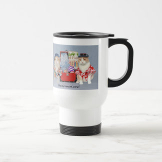 Funny Cats Going to Hawaii Stainless Steel Travel Mug