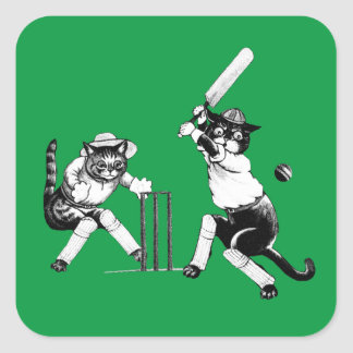 Funny Cats Playing Cricket Square Sticker