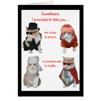 Funny Cats Valentine/Anniversary Greeting Card