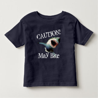 """Funny """"Caution! May Bite"""" with Scary Shark Toddler T-Shirt"""