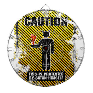 Funny Caution Satan Dart Board