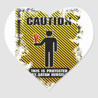 Funny Caution Satan Heart Stickers