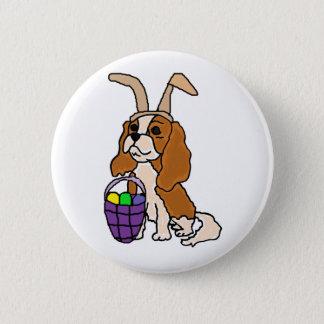 Funny Cavalier King Charles Spaniel Easter Art 6 Cm Round Badge