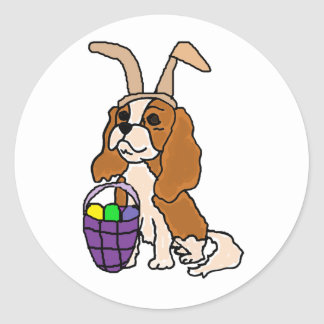 Funny Cavalier King Charles Spaniel Easter Art Classic Round Sticker