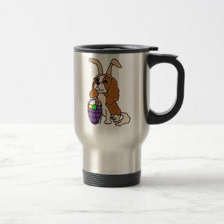Funny Cavalier King Charles Spaniel Easter Art Travel Mug