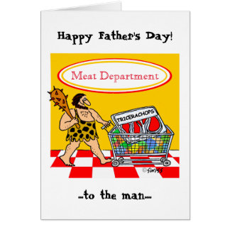 Funny Caveman Cartoon BBQ Meat Lover Fathers Day Card