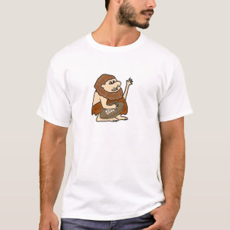 Funny Caveman with Football Cartoon T-Shirt