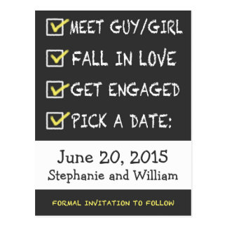 Funny Chalkboard Checklist Save the Date Postcard