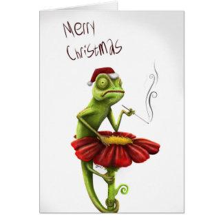 Funny Chameleon Christmas Card