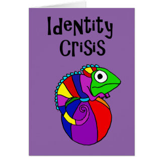Funny Chameleon on Beach Ball Identity Crisis Card