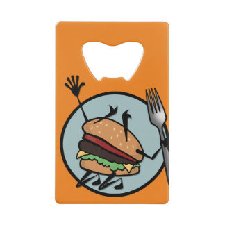 FUNNY CHEESEBURGER CREDIT CARD BOTTLE OPENER
