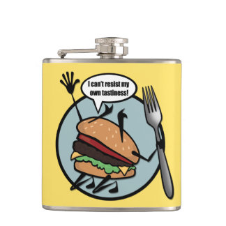 FUNNY CHEESEBURGER VINYL WRAPPED FLASK