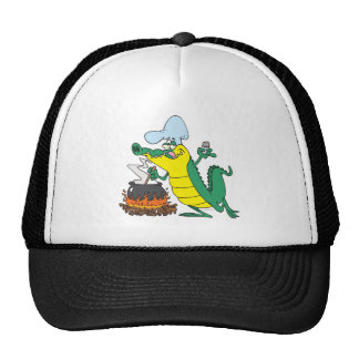 funny chef cooking gator alligator cartoon trucker hat