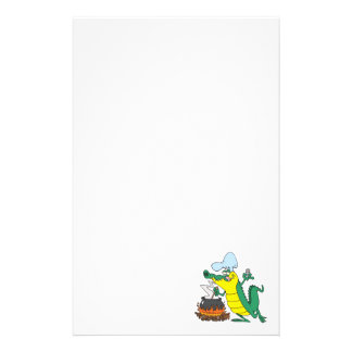 funny chef cooking gator alligator cartoon stationery