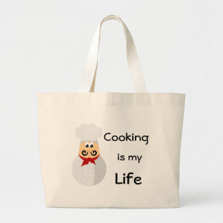 Funny Chef Cooking Is My Life Large Tote Bag