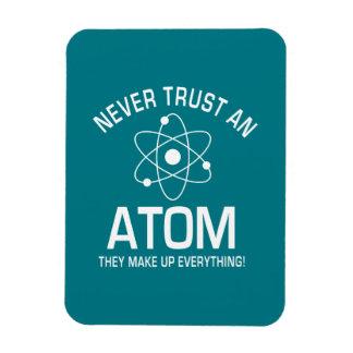 Funny Chemistry Pun Joke Never trust an atom Rectangular Photo Magnet