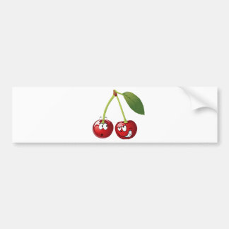 Funny Cherries with Faces Looking at Each Other Bumper Sticker