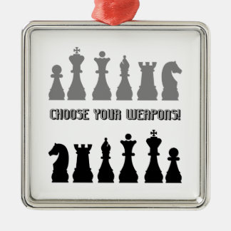 funny chess metal ornament