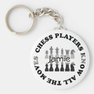 Funny Chess Players Know All the Moves Key Fob