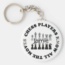 Funny Chess Players Know All the Moves Key Fob Keychain