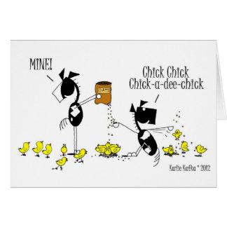 Funny Chick & Horse Cartoon Card