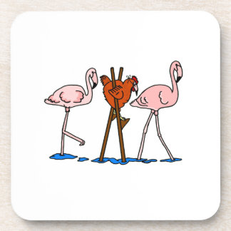 Funny Chicken and Flamingos Coaster