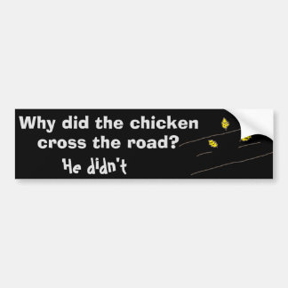 Funny Chicken Crossing Road Cartoon Bumper Sticker