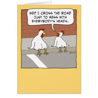 Funny Chicken Crossing the Road Happy Birthday Card