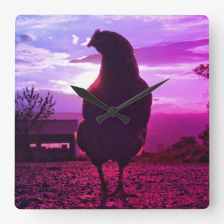 Funny Chicken in backlight Square Wall Clock