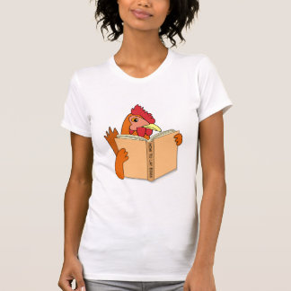 Funny Chicken Reading Book Cartoon Hen T-Shirt