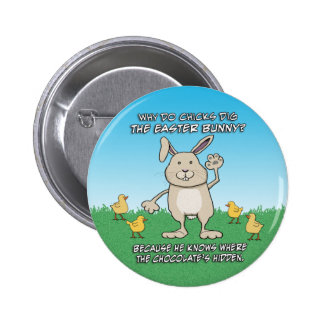 Funny Chicks Dig the Easter Bunny 6 Cm Round Badge