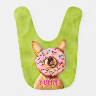 Funny Chihuahua Dog with Sprinkle Donut on Nose Bibs