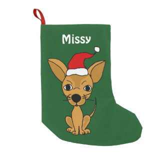 Funny Chihuahua in Santa Hat Christmas Stocking