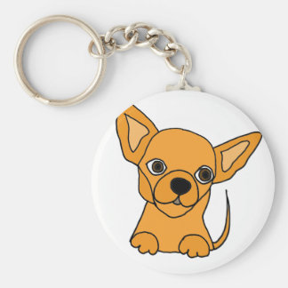 Funny Chihuahua Puppy Dog Basic Round Button Key Ring