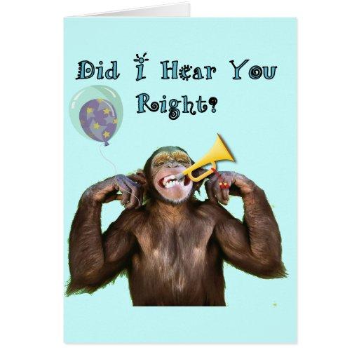 Funny Chimpanzee Humor Getting old Birthday card