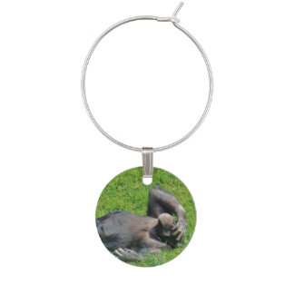Funny Chimpanzee in the Green Grass Wine Charm