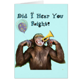 Funny Chimpanzee Over the Hill Birthday Greeting Card