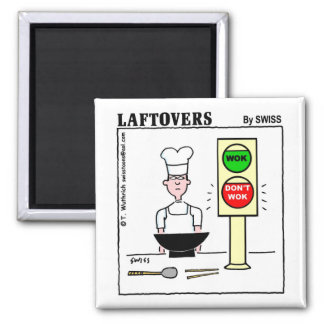 Funny Chinese Cuisine Wok Laftovers Cartoon Square Magnet