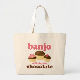 Funny Chocolate Banjo Music Gift Large Tote Bag
