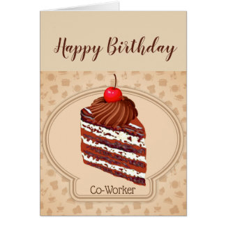 Funny Chocolate Cake Co-Worker Birthday Card